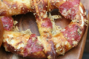Salami on a pretzel! Woot!